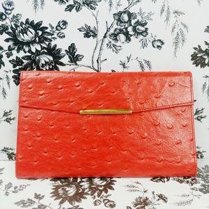 Vtg Tom Loper Beverly Hills ostrich trifold wallet